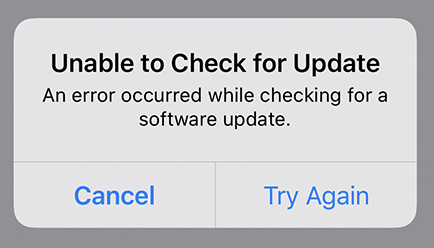 Unable to check for updates
